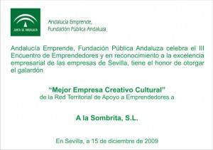 Premio-Alasombrita-MejorEmpresaCreatrivaCultural2009