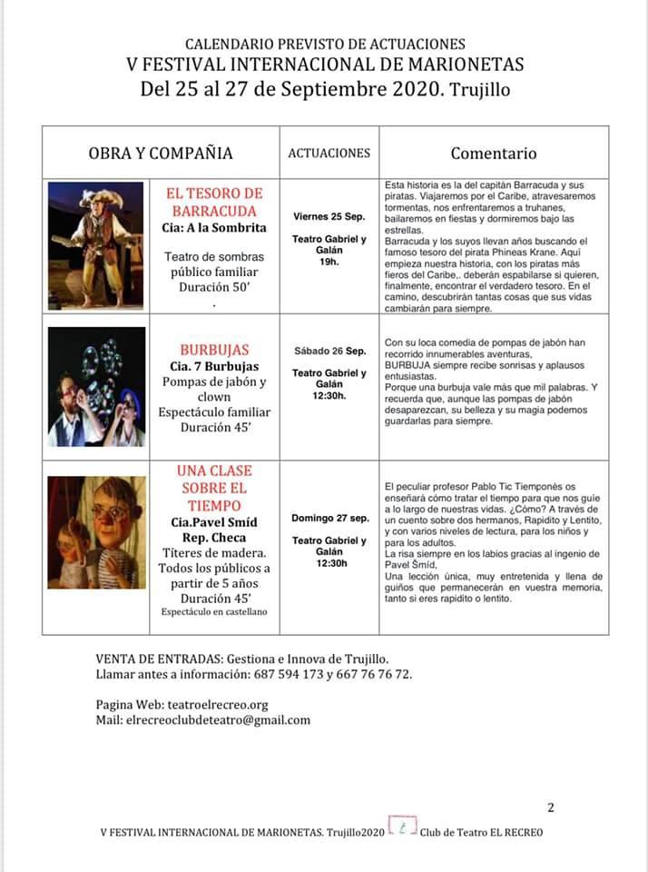 Programa del V Festival Internacional de Marionetas de Trujillo